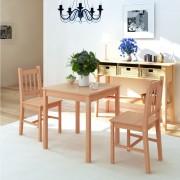 vidaXL Set masă și scaune din lemn de pin, 3 piese