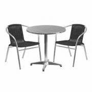 Flash Furniture 3-Piece Aluminum Table and Chair Set - Black, 27 1/2Inch Round Table with 2 Rattan Chairs, Model TLH28RD020BKCH2