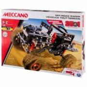 Set constructie STEM 25 in 1 Meccano Vehicul de teren 4 x 4 piese metalice + Joc de Carti Domino Cadou