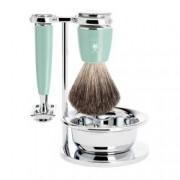 Set de barbierit cu aparat de ras clasic si pamatuf Pure Badger cu par de bursuc si maner de rasina premium S 81 M 336 S