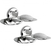 Kamal Stainless Steel Double Soap Dish (Set Of 2)