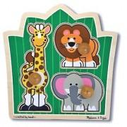 Jungle Friends 'Jumbo Knob' Puzzle + FREE Melissa & Doug Scratch Art Mini-Pad Bundle [33756]