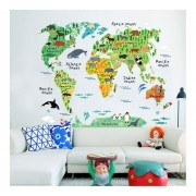 Mapa Del Mundo Animal Wall Sticker 90*60cm Desmontable Impermeable En La Decoración Del Hogar