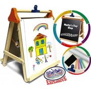 """Deluxe 3-in-1 Wooden Tabletop Easel with Blackboard, Dry Erase, Paper Roll & Accessories - """"Matty's Toy Stop""""..."""