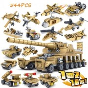 Beautys 101 S'Beauty Military Buildable Toys Construction Bricks Set 544 Pcs DIY Assembly Car,Chariot,Aircraft,Submarine,Warship and More for Children Enthusiasts