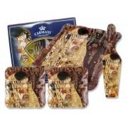H.C.198-8051 Üveg sütitál lapáttal, 2 desszerttányérral, 31cm, Klimt: The Kiss