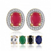 Spargz Multicolor 5 In 1 Interchangeable Oval Shaped Gold Plated CZ Stone Stud Earring For Women AIER 638