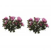 Bellatio flowers & plants 2x Roze azalea kunstplant 20 cm voor binnen