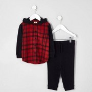 River Island Mini boys Red check hoodie and joggers outfit