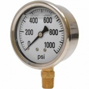 Valley Instrument 2 1/2Inch Stainless Steel Glycerin Gauge - 0-1,000 PSI