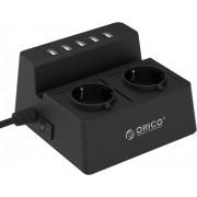 Orico 5-port USB punjač + 2 strujne utičnice, crni (ORICO ODC-2A5U-V1-EU-BK)