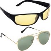 Aligatorr Aviator, Wrap-around Sunglasses(Golden, Grey)