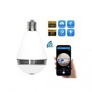 MOAAA Lámpara de Foco IP cámara 1080P Nube Almacenamiento panorámico Ojo de pez WiFi Seguridad hogar vigilancia inalámbrica 360 Grados VR CAM, 1, 1