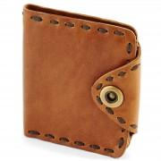 Collin Rowe Hellbraune Kompakte Geldbörse aus Leder