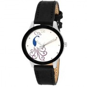 Lava Creation Stylish Black Peacock Design With Round Dial Girls Wrist Watch For Women (cut glass-black mor dial)