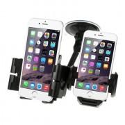 Shop4 - Universele Telefoonhouder Auto Dubbel Verstelbare Raamhouder Voor Twee Telefoons
