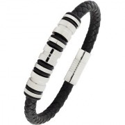 Punk 3D High Quality Braided 100 Genuine Leather 316L Stainless Steel Wrist Band Bracelet For Men