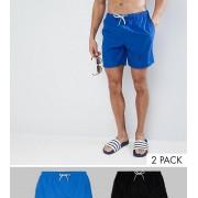 ASOS 2 шорт для плавания средней длины (синие/черные) ASOS - СКИДКА