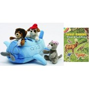 Unipak Airplane Finger Puppet House 10 Plush Stuffed Animals With Forest Animal Sticker Book