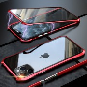 LUPHIE Bat Style Magnetic Installation Metal Frame + Tempered Glass Phone Casing for iPhone 11 Pro 5.8 inch - Red