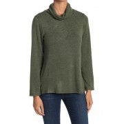 Bobeau Cowl Neck Built-In Face Mask Space Dye Print Sweater OLIVE