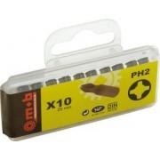 """Set 10 bituri pentru locas Phillips 1/4"""" - PH2 - L: 25 mm Nr.buc.: 10. - Mob-Ius"""