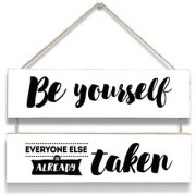 100yellow Be Yourself Print Door Hanging Board Plaque Sign For Wall Dcor (7 X 12 Inch)