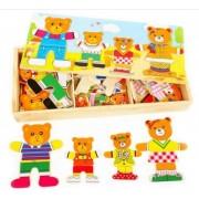 Puzzle imbraca ursuletii familia de 4 ursuleti