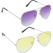 Hrinkar Aviator Sunglasses(Violet, Yellow)