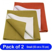 Glassiano Waterproof New Born Baby Bed Protector Dry Sheet Combo Small Golden Green/Rust (Pack of 2)