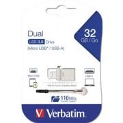 Pendrive, 32GB, USB 3.0+micro USB adapter, táblagéphez, VERBATIM Micro (UV32GMO)