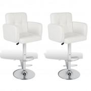 vidaXL Бар столове с подлакътници, изкуствена кожа, регулируеми, бели - 2 бр