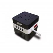 REGULADOR MARCA CDP RU-AVR604 600VA 4 CONTACTOS 4 USB DE RECARGA-negro