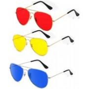 Iconicshades Aviator Sunglasses(Red, Yellow, Blue)
