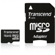 Transcend 16GB MicroSDHC Class10 Memory Card with Adapter 30 MB/s (TS16GUSDHC10)