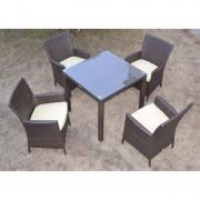 Conjunto de jardín 4 sillones + mesa fabricados en aluminio y ratán