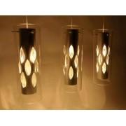 aniba Design Éclairage plafonnier Torino avec différents élements en verre Dimensions: env. L64xB12xH135cm, Argent/Blanc