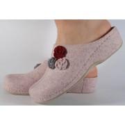 Papuci de casa roz din lana cu talpic piele naturala dama/dame/femei (cod 277.2)