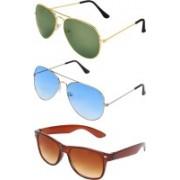 Abner Aviator, Aviator, Wayfarer Sunglasses(Green, Blue, Brown)