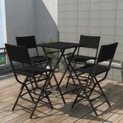 vidaXL Set mobilier exterior pliabil, 5 piese, negru oțel, poliratan