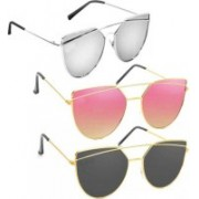SRPM Wayfarer Sunglasses(Pink, Black, Silver)