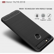Cepillado Textura Fibra De Carbono Resistente TPU Para Huawei Honor 7a / Y6 (2018) (negro)