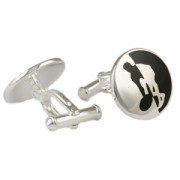 Mousie Bean Sterling Cufflinks Tennis Player 153