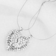 ELECTROPRIME Crystal Heart Pendant 2 Part Mother Daughter Necklace Chain Mothers Day Gift