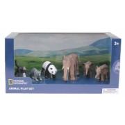 Set 6 figurine - Elefantul si puii Maimuta Raton Urs Panda