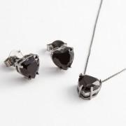 Conjunto Coração Médio em Cristal Preto fosco com banho em Ródio Negro