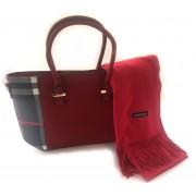 Geanta Red British Style & Esarfa Casmir
