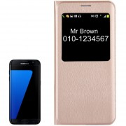 Para Samsung Galaxy S7 EDGE / G935 Litchi Texture Horizontal Funda De Cuero Flip Con Llamada Pantalla Id (oro)
