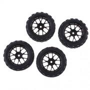 Phenovo RC 1:10 Racing Car Tires Black Wheel Rim for HSP HPI Rock Crawler Parts Pack of 4