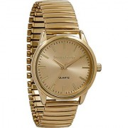 Daniel David Men's   Gold One-Tone Face Expansion Band Easy Read Watch   DD13503